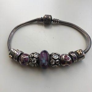 Pandora Bracelet Purple, Blue & Silver